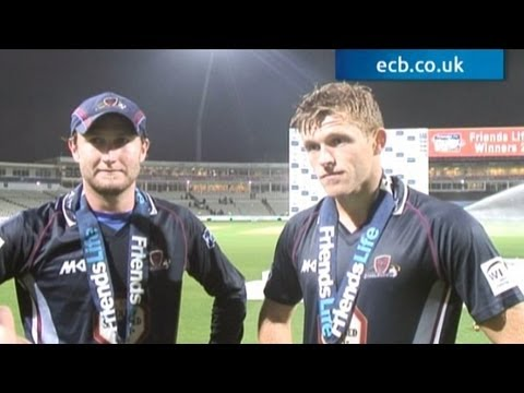 Northants Steelbacks captain Alex Wakely and man of the match David Willey were thrilled after winning the Friends Life t20.