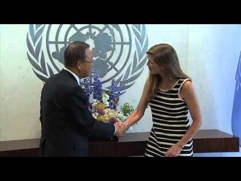 US REPRESENTATIVE Amb SAMANTHA POWER PRESENTS CREDENTIALS to UN's BAN KI-MOON