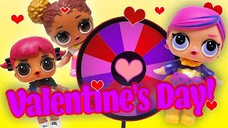 LOL Surprise Dolls Spin the Wheel Game on Valentine's Day with Sugar Queen, Super BB, and Others!
