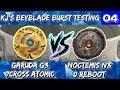 Garuda G3 7Cross Atomic vs. Noctemis N3 0 Reboot (KJ's Beyblade Burst Testing #04)