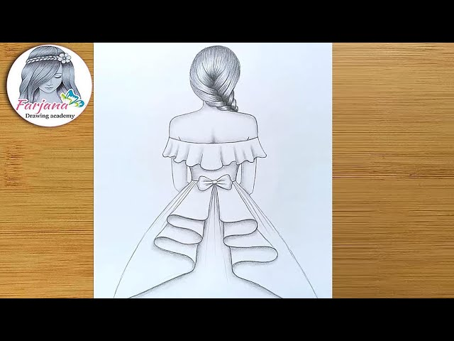 How to draw a girl with beautiful dress for beginners  Pencil Sketch  Drawing Tutorial