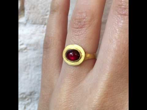 Erica Weiner Ancient Roman Ring with Garnet Cabochon thumbnail