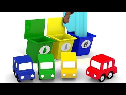 ?Cuatro COCHES coloreados. Piscina de bolas. Dibujos animados de #coches para niños en español