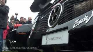 REV OFF Ferrari Enzo Vs Pagani Zonda F LOUD sound Scares kid! Zonda Flame!