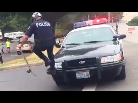 INSTABLAST! - COP BOMB DROPS SQUAD CAR!? LONGEST Blunt Slide Ever!!! Skateboarding Chimp, Vans