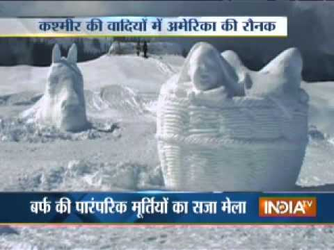 Snow Fiesta in Gulmarg: Artists create snow idols