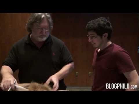 Gabe Newell Horsing Around with a Fan