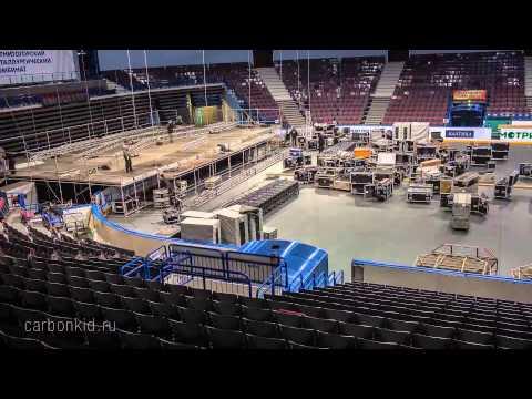 Mонтаж сцены и оборудования перед концертом Roxette