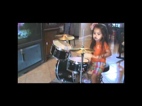 Elida Reyna's daughter Leylah playing drums.