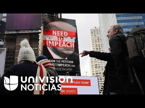 Anuncio en Times Square promueve la destitución del presidente Trump