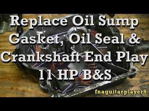 How to Replace Crankcase Oil Sump Gasket/seal & Crankshaft End Play on 11HP Briggs
