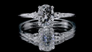 F&B Jewelry Showcase:  Custom FAB Oval 7x5mm Oval Moissanite 3 Stone Ring w/ Pear Shaped Diamonds