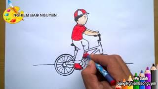 Vẽ tranh Bé đi xe đạp/How to Draw Baby cycling