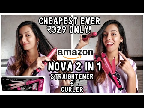 I bought cheapest 2 in 1 straightener + curler from Amazon ₹329 | Nova NHS 800 review & demo