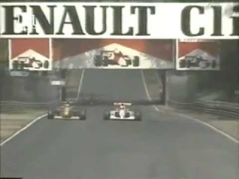 Schumacher's battle with Ayrton Senna. Senna was on new tyres. It was Schumacher's first race in Benetton, the 2nd in F1.
