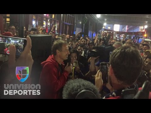 Jurgen Klinsmann makes a surprise visit at a pre game party in Philly