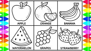 How to Draw Fruit for Kids 🍏🍊🍌🍉🍇🍓Fruit Drawings for Kids | Fruit Coloring Pages for Kids
