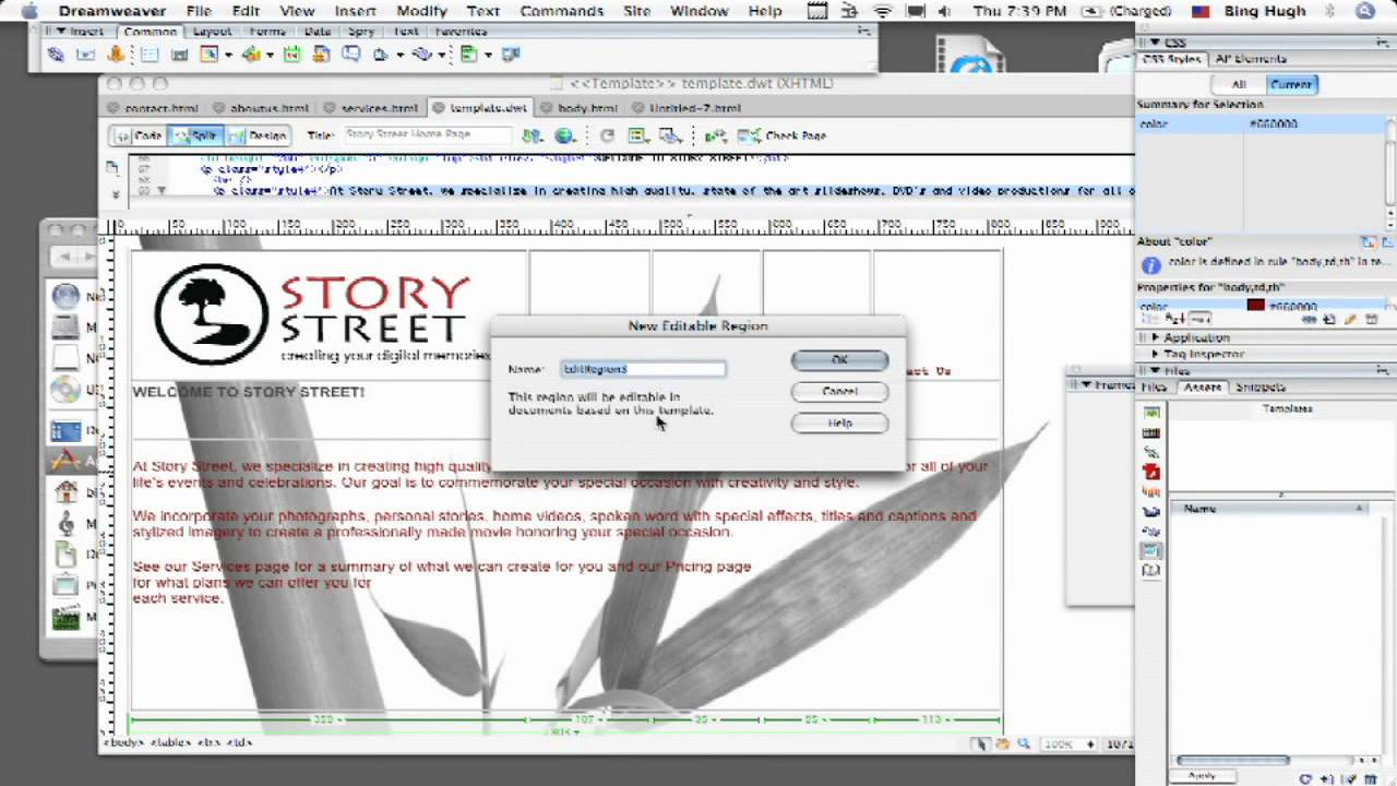 how to use templates in dreamweaver dreamweaver tutorial how to use dreamweaver templates