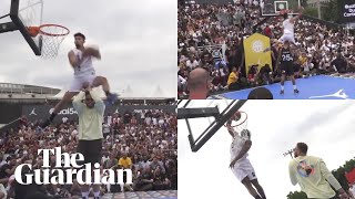 Isaiah Rivera wins slam dunk contest in Paris using Blake Griffin as a prop