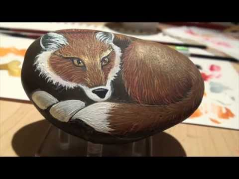 How To Paint A Fox- Painting On Rocks