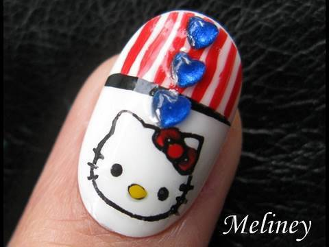 Konad Nail Art Tutorial - Hello Kitty Patriotic 4th of July Independence Day Design for Short Nails