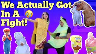 Trying on THE WORST COUPLES COSTUMES EVER!!