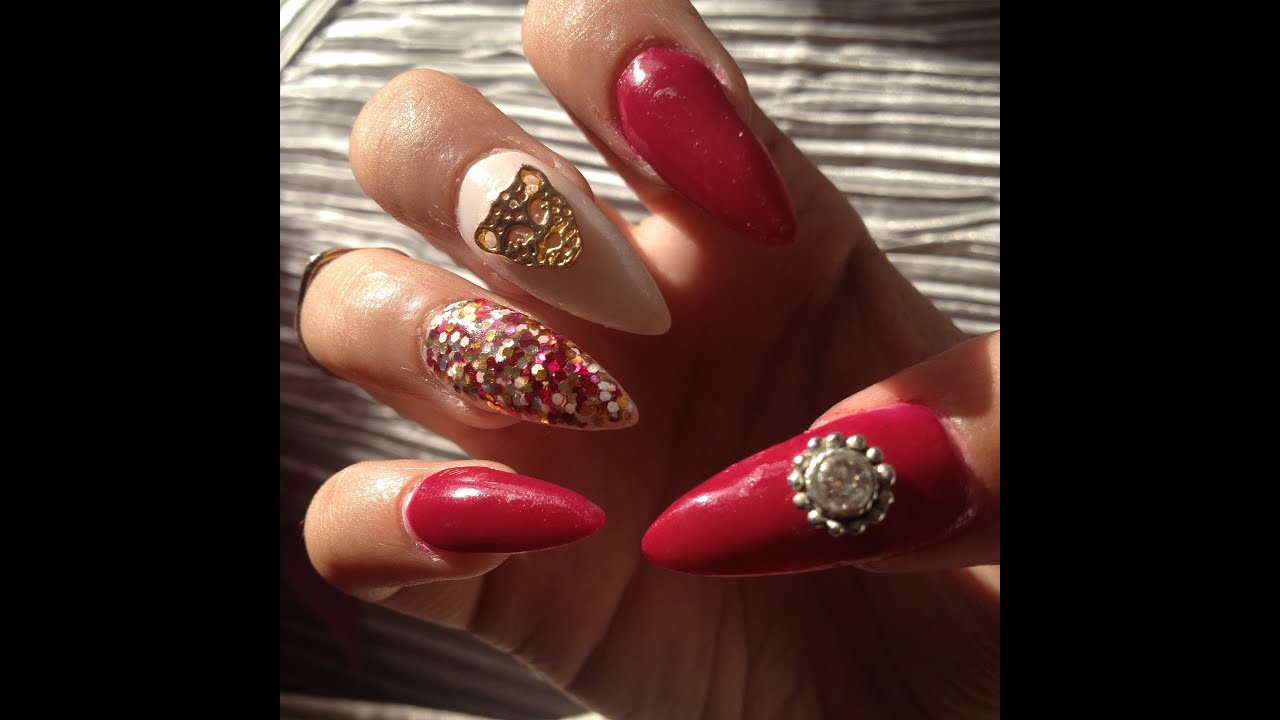 Burgundy and Gold stiletto nails TUTORIAL - YouTube