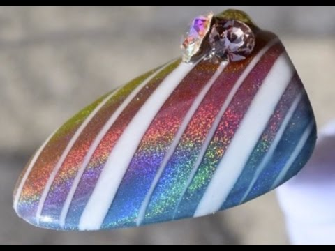 Rainbow Chrome Striped Nail Tutorial