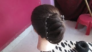 Latest Party Twisted Bun Hairstyle#Wedding Hairstyle for Medium Hair#Easy Hairstyle