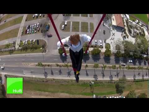 Man Hangs From Helicopter With One Foot!  (Bello Nock Circus Sarasota Stunt)