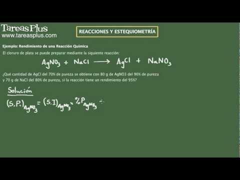 Reacciones Químicas. Rendimiento. Ejemplo 3
