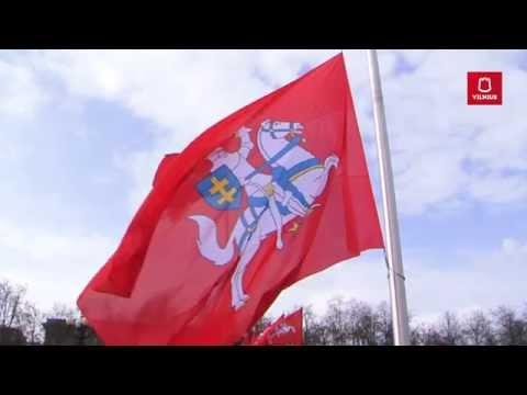 Lukiškių aikštėje iškelta įspūdinga istorinė vėliava