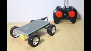 How to make RC car Toys with power bank at home - Remote controll