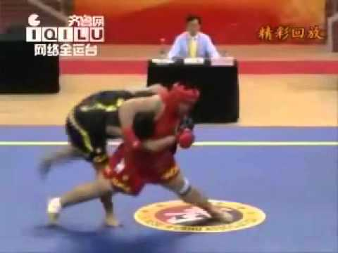 wushu SANDA sanshou - TAKEDOWNS (chinese kickboxing)