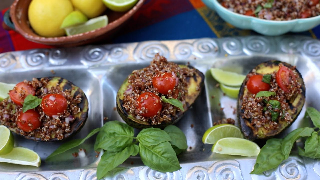 Grilled Avocado Bar for a Fiesta with a Quinoa Salad - YouTube