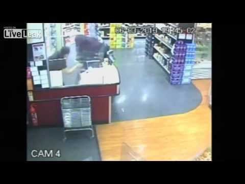 Armed robbery caught on tape in Warwickshire, UK...