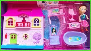 Đồ chơi trẻ em NHÀ BÚP BÊ MINI có bàn ghế, tủ, bồn tắm, máy tính màu hồng Toys for Kids (Chim Xinh)