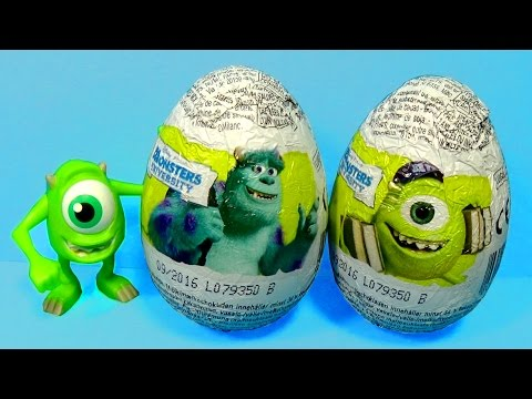 Disney MONSTERS UNIVERSITY surprise eggs Mike Wazowski Sulley Art Terri Perry Johnny Worthington