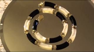 Black Onyx/Mother Of Pearl 14 KT Collar Necklace