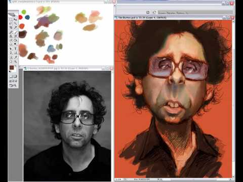 Tim Burton caricature demo part1/2