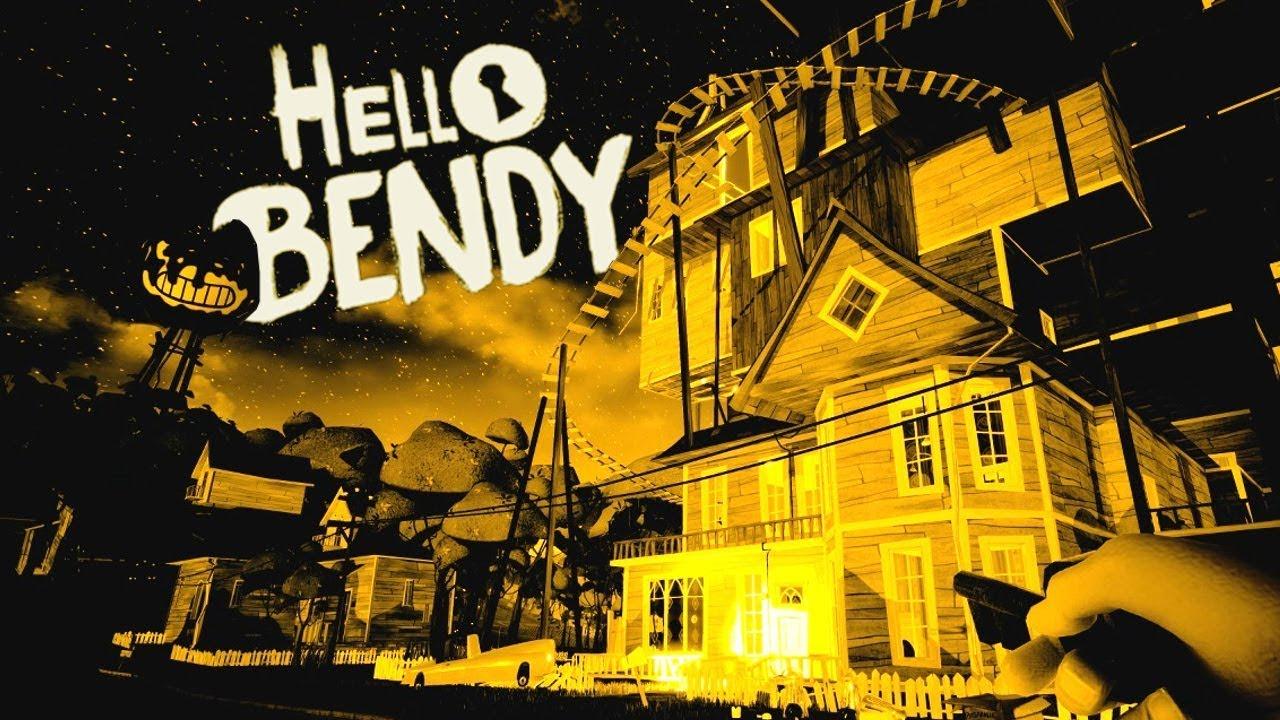 BENDY INVADES the HELLO NEIGHBOR's NEIGHBORHOOD! - Hello Bendy Gameplay