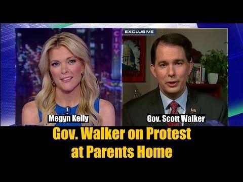 Gov. Scott Walker Responds to Union Protest at Parents Home