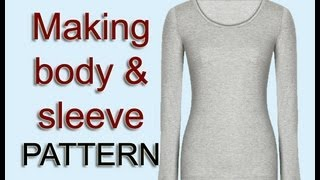 Copy body & sleeve pattern from your old top / Pattern drafting sleeve