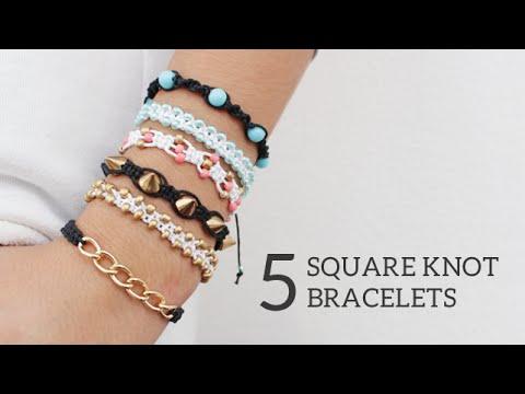 DIY 5 Easy Square Knot Friendship Bracelets