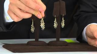 Adi Paz Gemstone Scroll Design Dangle Earrings 14K Gold with Alberti Popaj