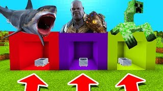 Minecraft PE : DO NOT CHOOSE THE WRONG MINECART! (Shark, Thanos & Mutant Creeper)