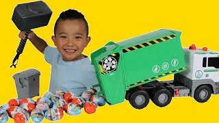 Garbage Truck Full Of  Disney Cars Kinder Surprise Eggs Thor Hammer Smashing Fun With Ckn Toys