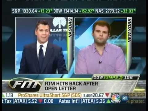 "Jonathan Geller of BGR Discusses RIM Letter Scandal Exclusively with CNBC's ""Fast Money"""
