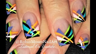 Summer Stripe Nails | Geometric french Nail Art Design Tutorial