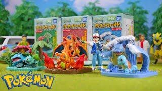 Pokemon Diorama Figure   Venusaur Charizard Blastoise   Candy Toys Stop Motion Video